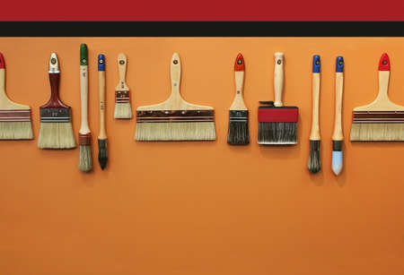 row of brushes for background Stock Photo