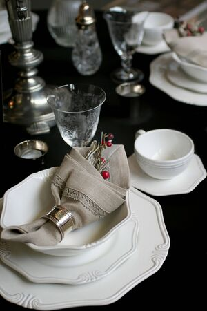 celebration christmas table in elegant country style photo