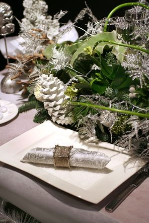 christmas table with silver decoration photo