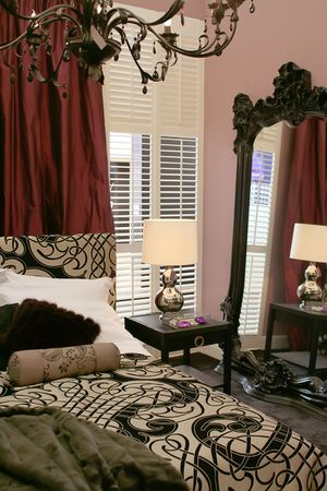wall mirror: luxury classic bedroom with wall mirror