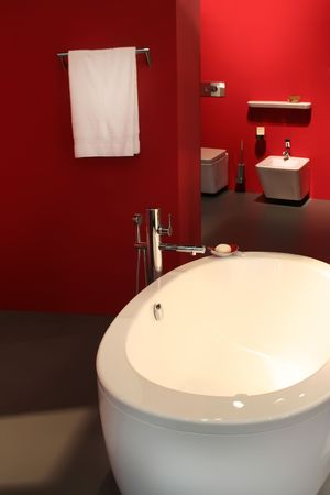 interior of bath-room in red Stock Photo - 2273590