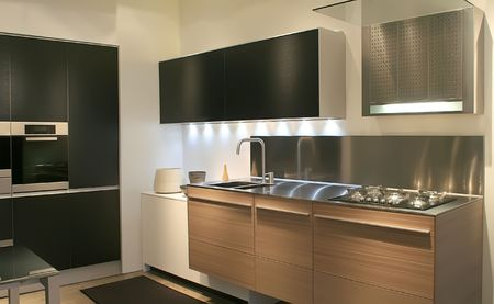 kitchen equipment: modern interior of  kitchen and kitchen equipment