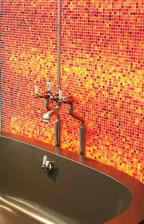red tiles in bath-room Stock Photo - 2273617