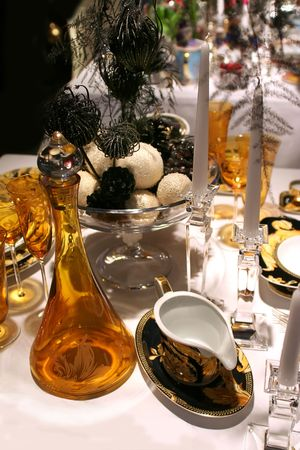 luxury christmas table with golden table set photo