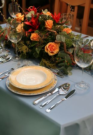 Restaurant inter with served table and flowers Stock Photo - 2403479