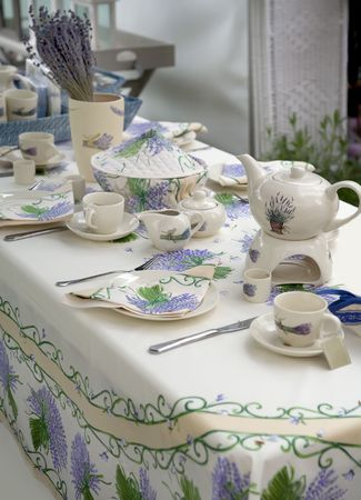tea set in country style with lavender Stock Photo