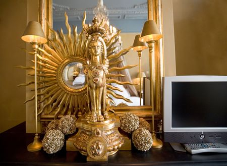 golden decoration of interior with mirror Stock Photo - 3182455