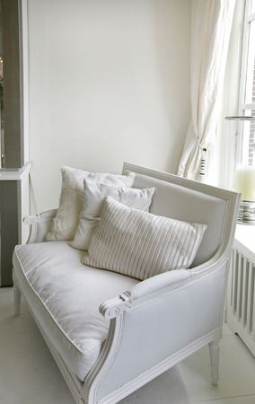 comfy: classic white chair with decorated fabric Stock Photo