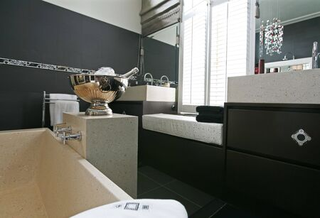 interior of bath room with campagne bowl  photo