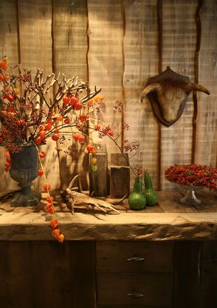 table with animal head in country kitchen photo