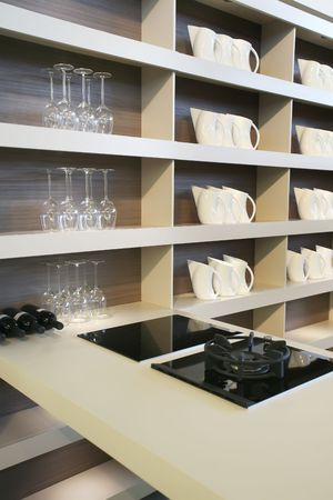 kitchen background of interior with modern furniture photo