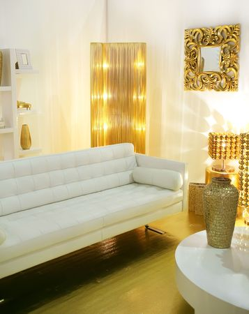 modern interior designed with golden accessories Stock Photo - 3754721