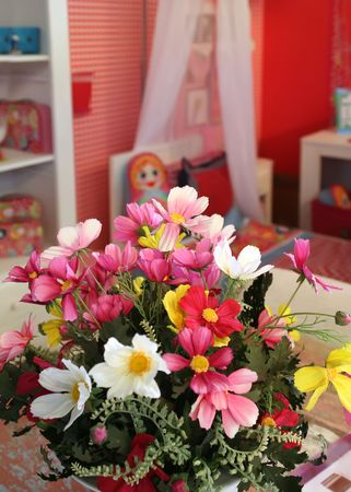 flowers in red child room  photo