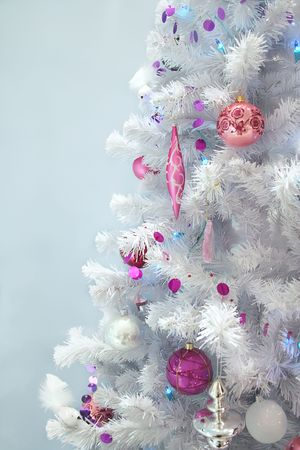 home decoration by white Christmas tree photo