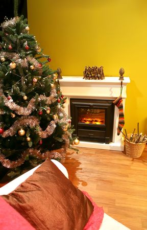 winter decoration in house interior photo