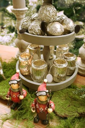 balls, toys and candles for home decoration photo