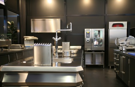 stainless steel pot: interior of new industrial kitchen  Stock Photo