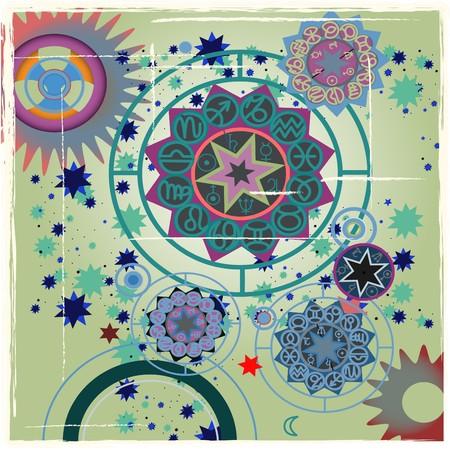 constellations: illustration vectorielle des signes du zodiaque Banque d'images