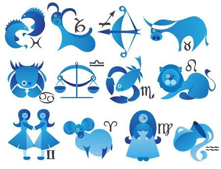 costellazioni: illustrazione vettoriale di segni zodiacali in stile moderno Archivio Fotografico