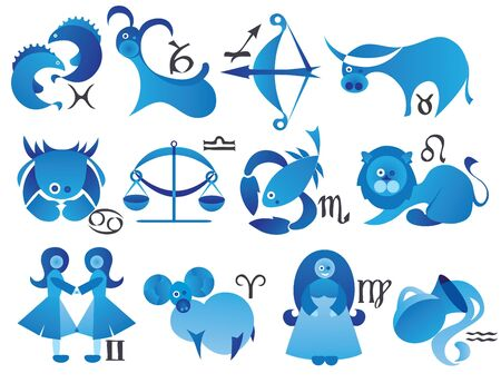 vector illustration of zodiac signs in modern style illustration