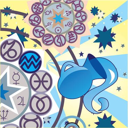 virgo: Acuario - aire signo del zodiaco Vectores