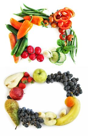 two frames form vegetables and fruits photo