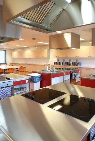 kitchen towel: industrial kitchen in college