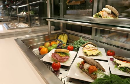 hotel or restaurant vitrine with lunch photo