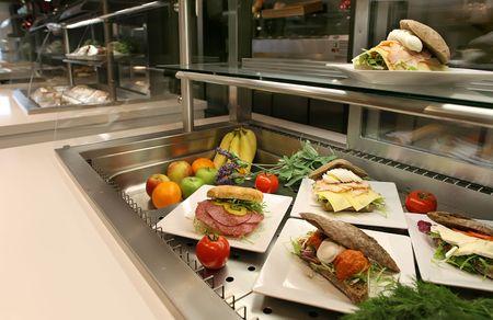 vitrine: hotel or restaurant vitrine with lunch