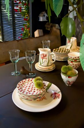 bar ware: Garden  table decorated in country style for autumn