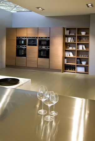alcohol cardboard: design of interior of contemporary kitchen