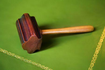 freemason: antique Freemason hammer on table