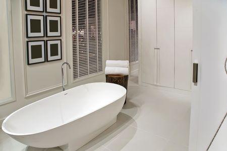 interior of empty white bathroom photo