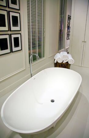 interior of classic white bathroom photo
