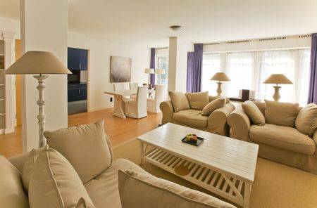 Living room in empty apartment in classic style photo