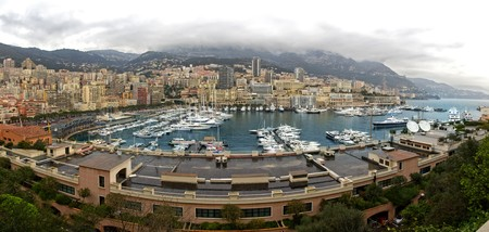 panorama of Monaco view by rain weather photo