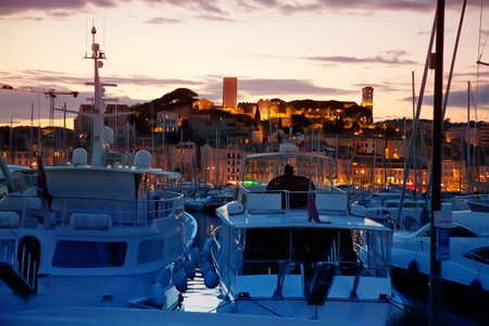 sunset in Cannes by evening water