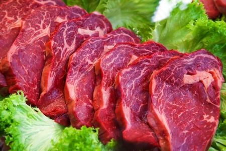 vitrine: raw meat in shop vitrine