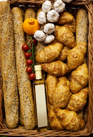 background from fresh bread in basket photo