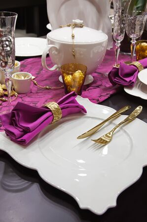 golden decoration in party table Stock Photo - 8794397