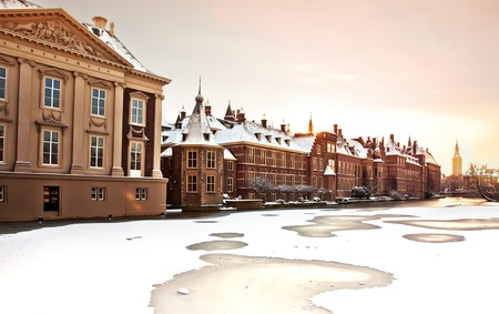 winter landscape in the Hague, Netherlands photo