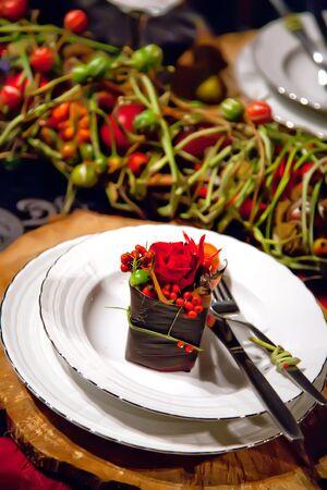 Celebration on table with seasonal decorations Stock Photo - 8794387