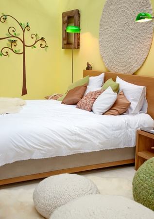 bolster: design of bed room in spring theme and decoration