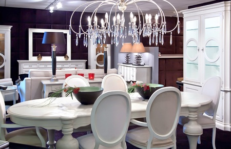 classic interior with white table and decoration