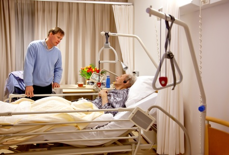 recovery bed: visitor of recovery room by hospital Stock Photo