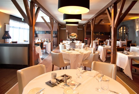 luxury restaurant: modern interior of restaurant in classic style Stock Photo