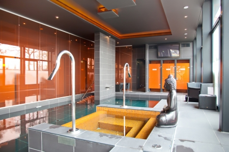 interior of spa pool with buddha Stock Photo - 9454271