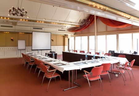 interior of meeting room with table photo
