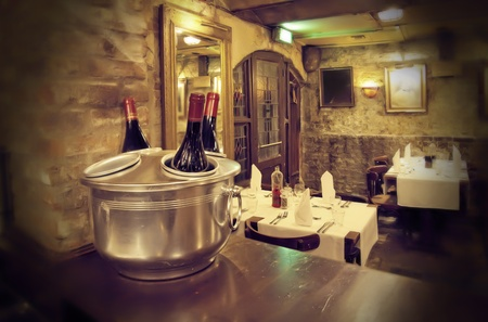wine bottles in interior of old cafe Stock Photo - 9637038