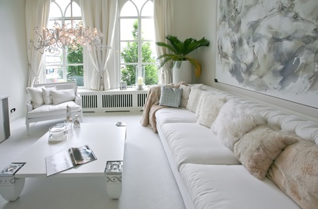 baroque room: designed in white color modern interior